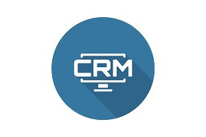 Desktop CRM System Icon. Flat Design.