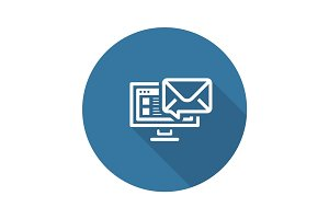 E-mail Marketing Icon. Flat Design.