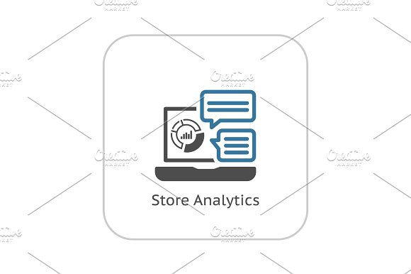 Store Analytics Icon Flat Design