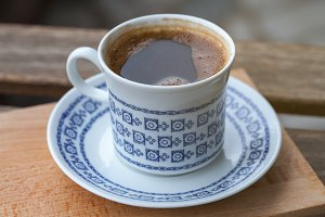 vintage cup of black coffee