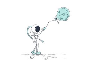 astronaut keeps a balloon like a Moon
