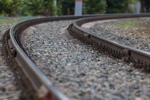 Railway tracks on crushed stone, telephoto