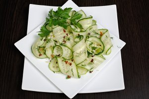 Salad from fresh cucumbers