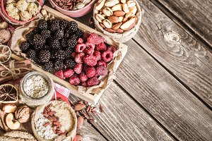 still life with raspberries and nuts