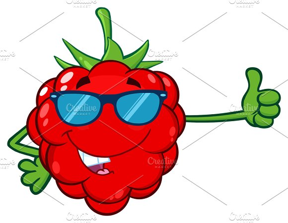 Red Raspberry Fruit With Sunglasses
