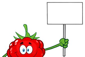 Raspberry Fruit Holding A Blank Sign