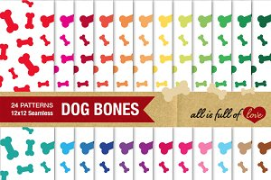 24 Dog Bone Background Patterns