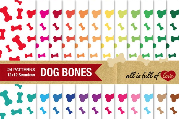 24 Dog Bone Background Patterns