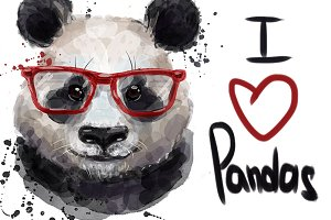 watercolor cute panda