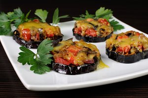 appetizer of eggplant under cheese