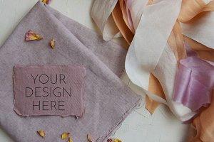 Handmade Paper Mockup | Silk Ribbons
