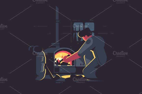 Traveler Man Warm By Furnace