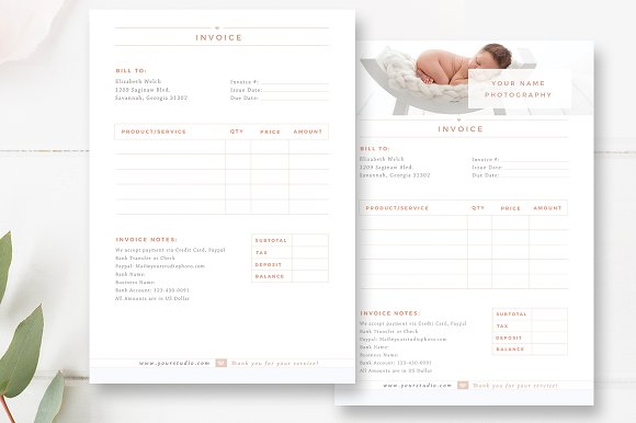 Invoice Template For Photographers Stationery Templates Creative