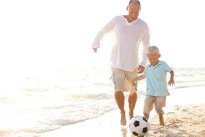 A Caucasian Family on a Beach
