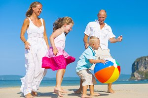 A Caucasian Family on a Beach