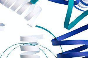 Curl blue ribbon background