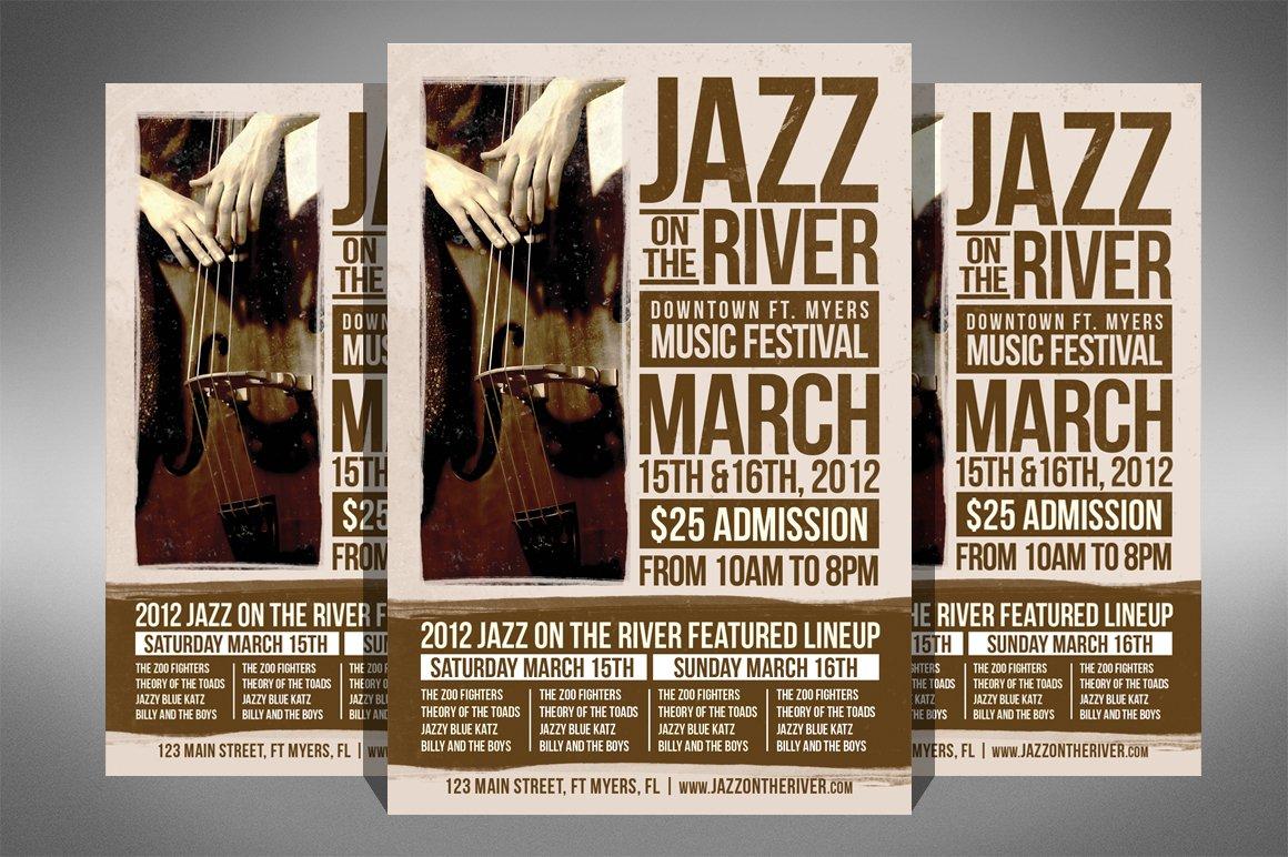 jazz music festival flyer flyer templates creative market. Black Bedroom Furniture Sets. Home Design Ideas