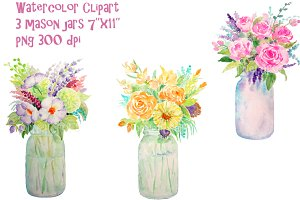Watercolor Vase of Flowers Mason Jar