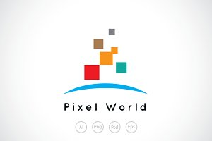 Pixel World Logo Template