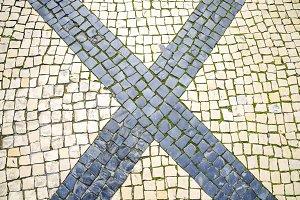 Tile floor, mosaic texture