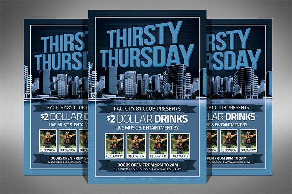 thirsty thursday club flyer flyer templates creative market