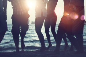 Friends having party on a beach
