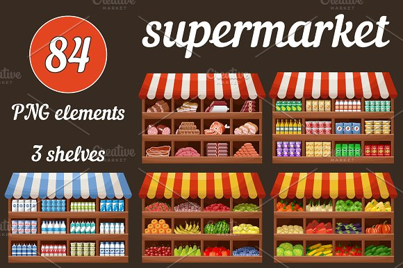 Supermarket With Products And Drinks