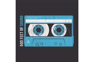 Retro design with a cassette tape.