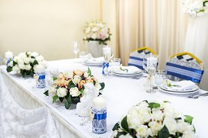 Wedding table decorated