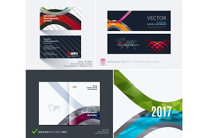 Vector business card template colourful soft rounded shapes