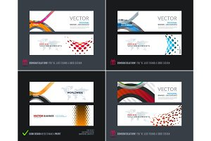 Abstract vector set of modern horizontal website banners with colourful soft rounded shapes for construction, teamwork