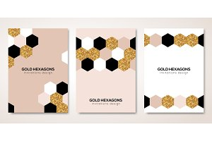 Banners set with gold hexagons decor