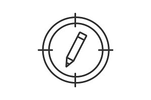 Aim on pencil linear icon