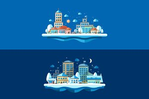 Flat Design Winter Urban Landscapes
