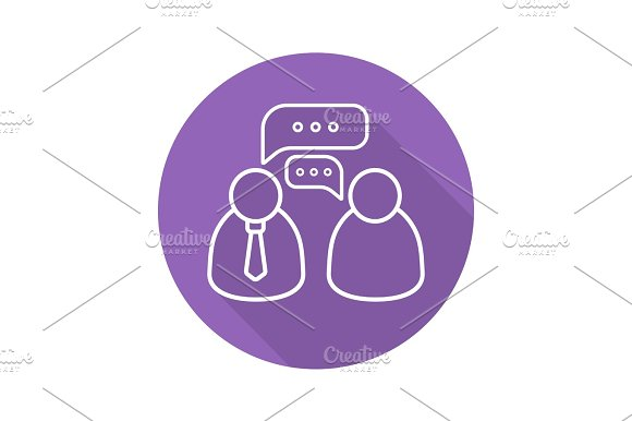 Business Meeting Flat Linear Long Shadow Icon