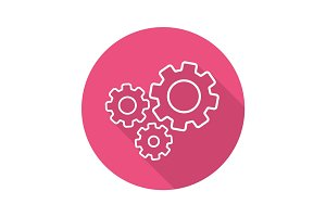 Cogwheels flat linear long shadow icon