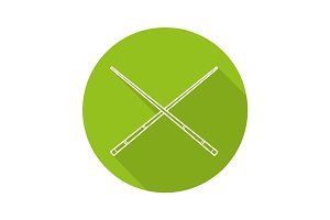Crossed billiard cues flat linear long shadow icon