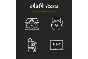 Education chalk icons set