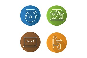 Education flat linear long shadow icons set