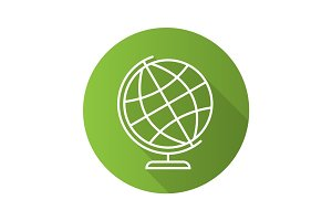 School globe flat linear long shadow icon