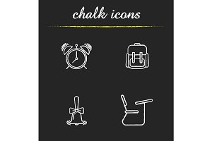 School and education chalk icons set