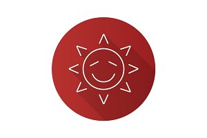 Happy sun smile flat linear long shadow icon