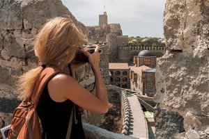 Girl Photographer taking pictures in the Rabati Castle