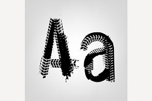 "Grunge Tire Letter ""A"""