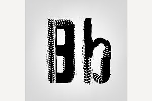 "Grunge Tire Letter ""B"""