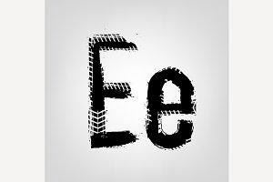 """Grunge Tire Letter """"E"""""""