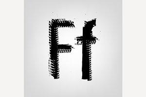 "Grunge Tire Letter ""F"""