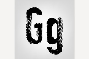 """Grunge Tire Letter """"G"""""""