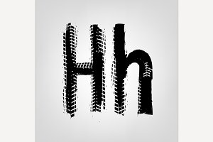 "Grunge Tire Letter ""H"""