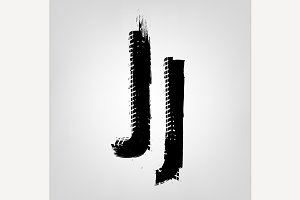 "Grunge Tire Letter ""J"""